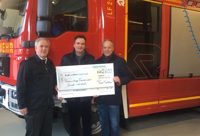 2.600 Euro für die Freiwillige Feuerwehr Spende von der Provinzial-Geschäftsstelle Frank Mertens
